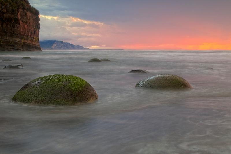 The Round Tongaporutu Boulders at sunset.