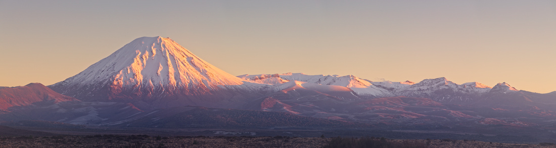 Panorama of Mount Ngauruhoe at dawn.