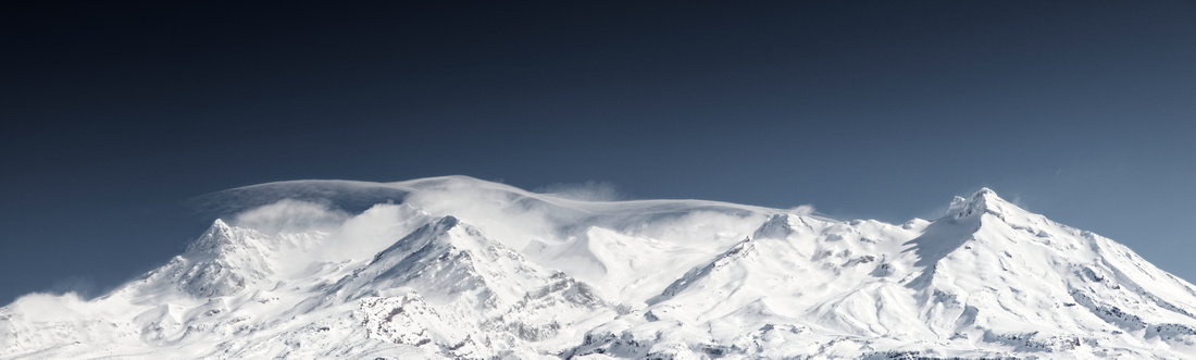 Mount Ruapehu with a wind storm on the tops.